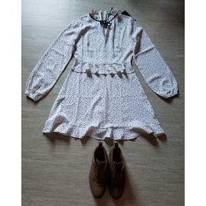 Nasty Gal Ditsy Polka Dot Tea Dress Cream Size 6
